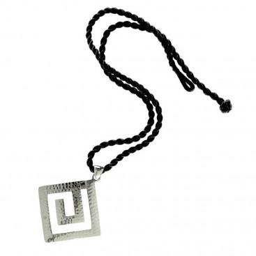 Meander-Greek Key ~ Sterling Silver Pendant with Choker - L