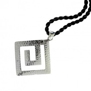 Meander-Greek Key ~ Sterling Silver Pendant with Choker - L