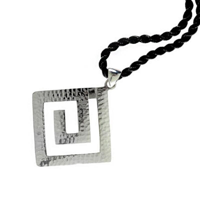 Meander greek key sterling silver pendant with choker greek jewelry meander greek key sterling silver pendant with choker l aloadofball Choice Image