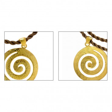 Large Spiral ~ Sterling Silver 24K/ Gold Plated Pendant with Choker