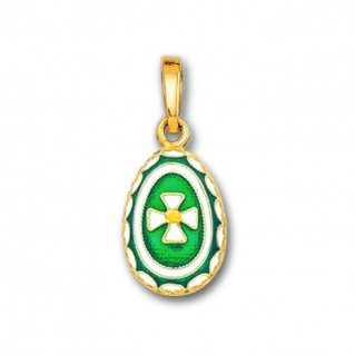 Egg Pendant with Cross ~ 14K Solid Gold and Hot Enamel ~ A/Small