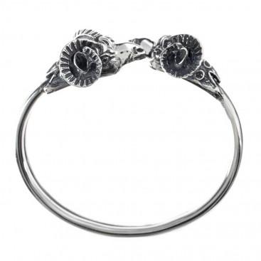Ram's Head ~ Sterling Silver Cuff Bracelet - Large