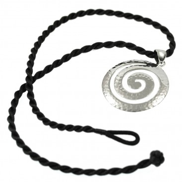 Large Spiral ~ Sterling Silver Pendant-Necklace with Choker