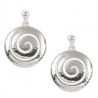 Large Spiral ~ Sterling Silver Pierced Earrings