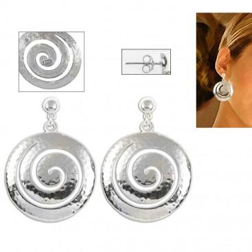 Large Spiral ~ Sterling Silver Pierced Earrings