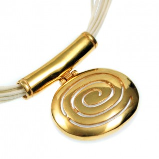 Large Spiral ~ Silver-Gold Plated Necklace