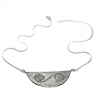 Double Spiral on Filigree ~ Sterling Silver Necklace