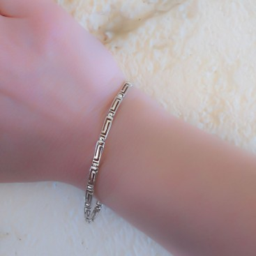 Greek Key - Meander ~ Sterling Silver Link Bracelet