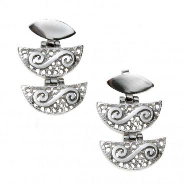 Double Spiral on Filigree ~ Sterling Silver Pierced Earrings