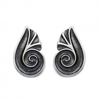 Spiral Shell ~ Sterling Silver Stud Earrings
