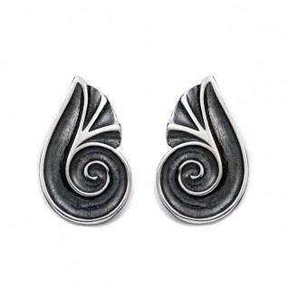 Spiral Shell ~ Sterling Silver Stud Earrings