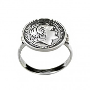Alexander the Great ~ Lysimachos Tetradrachm Coin ~ Sterling silver coin ring