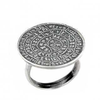 Minoan Phaistos Disk - Sterling Silver Ring - L
