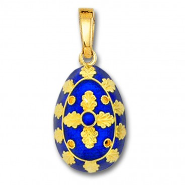 Egg Pendant with Cross ~ 14K Solid Gold and Hot Enamel ~ B/Large