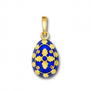 Egg Pendant with Cross ~ 14K Solid Gold and Hot Enamel ~ B/Small