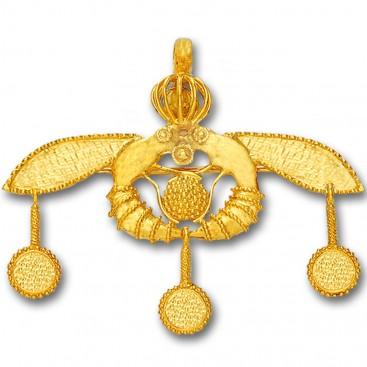 Minoan Cretan Malia Bees ~ 18K Solid Yellow Gold Pendant-Brooch - XL