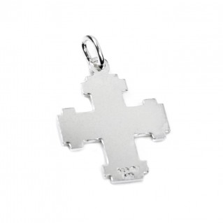 Greek Cross ~ 925 Silver & 14K Solid Gold - Small Size