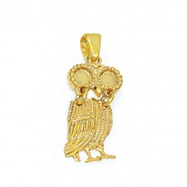 Goddess Athena's Wise Little Owl ~ Sterling Silver 24K/ Gold Plated Pendant - A