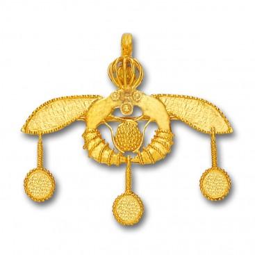 Minoan Cretan Malia Bees ~ 18K Solid Yellow Gold Pendant-Brooch - L