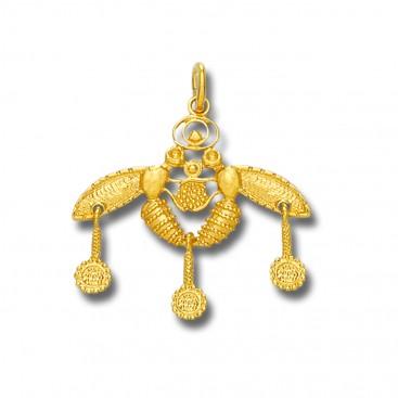 Minoan Cretan Malia Bees ~ 18K Solid Yellow Gold Pendant - M