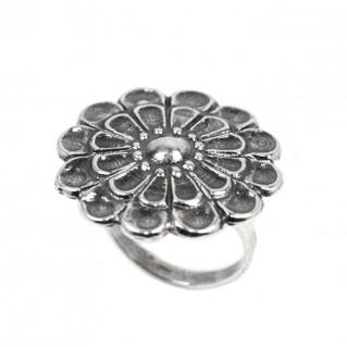 12-Leaf Mycenaean Rosette ~ Sterling Silver Adjustable Ring