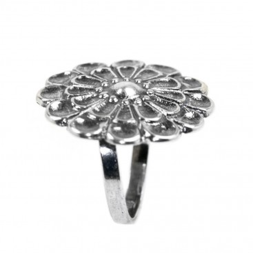 12-Leaf Mycenaean Rosette ~ Sterling Silver Adjustable Ring