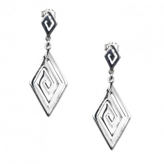 Meander-Greek Key ~ Sterling Silver Dangle Earrings