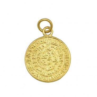 Minoan Phaistos Disk ~ Silver/24K Gold Plated Pendant -S