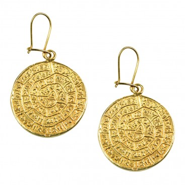 Minoan Phaistos Disk ~ Silver/24K Gold Plated Earrings- L