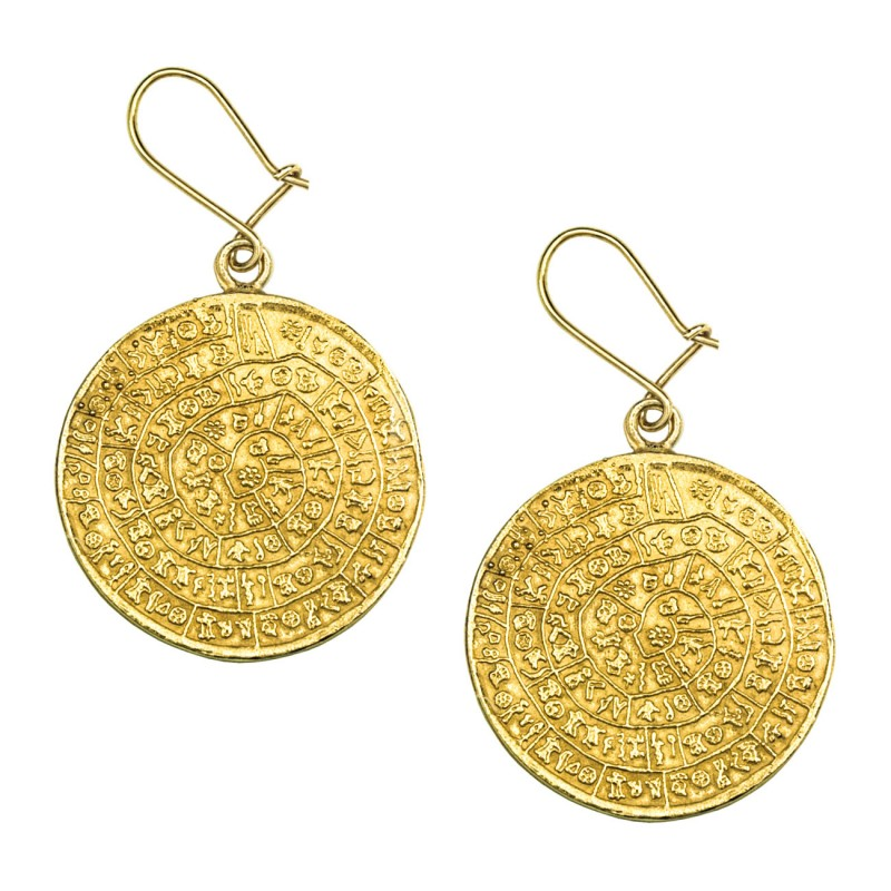 Minoan Phaistos Disk Silver 24k Gold Plated Earrings L