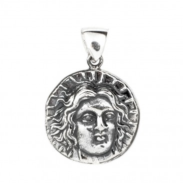 Helios-Sun God ~ Ancient Greek Rhodes Tetradrachm Coin ~ Silver Pendant - L