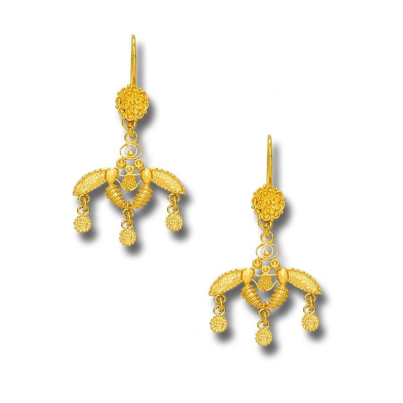 Minoan Malia Bees 18k Solid Gold Drop Earrings