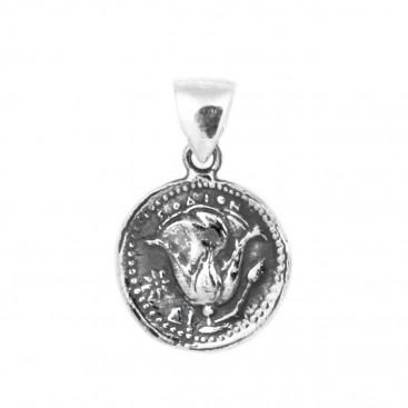 Helios-Sun God ~ Ancient Greek Rhodes Tetradrachm Coin ~ Silver Pendant - S