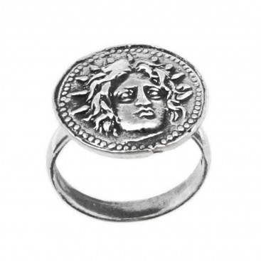 Helios-Sun God ~ Ancient Greek Rhodes Tetradrachm Coin ~ Silver Ring