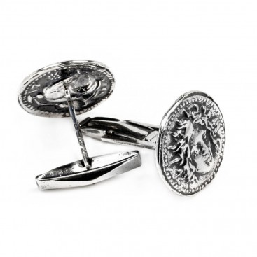 Helios-Sun God ~ Ancient Greek Rhodes Tetradrachm Coin ~ Silver Cufflinks