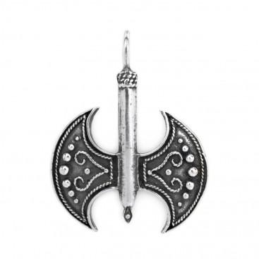 Minoan Labrys-Double Axe ~ Sterling Silver Pendant - Large