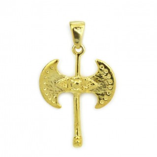 Minoan Labrys-Double Axe ~ Sterling Silver 24K/ Gold Plated Pendant