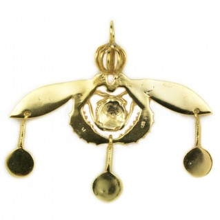 Minoan Malia Bees ~ Sterling Silver 24K/ Gold Plated Pendant - XL