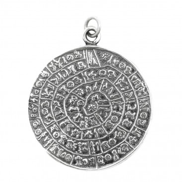 Minoan Phaistos Disk ~ Sterling Silver Pendant- XL
