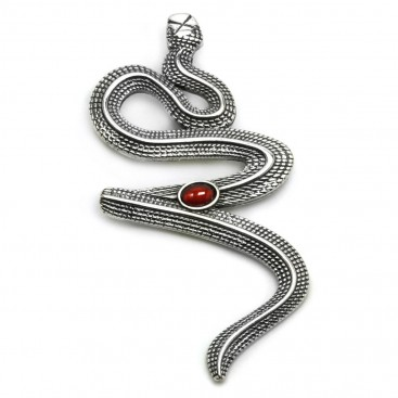 Snake-Serpent ~ Sterling Silver and Carnelian Pendant - L