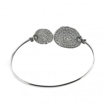 Minoan Phaistos Disk ~ Sterling Silver Cuff Bracelet