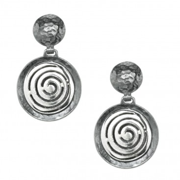 Spiral ~ Sterling Silver Hammered Finished Earrings
