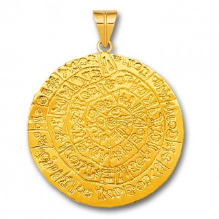 Minoan Phaistos Disk - 14K Solid Gold Pendant A/XLarge