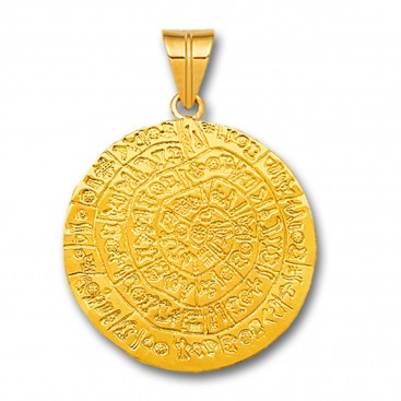 Minoan Phaistos Disk - 14K Solid Gold Pendant A/Large