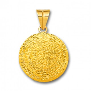 Minoan Phaistos Disk - 14K Solid Gold Pendant A/Medium