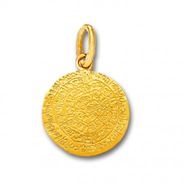 Minoan Phaistos Disk - 14K Solid Gold Pendant A/Small
