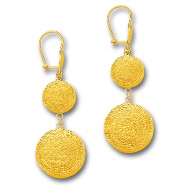 Minoan Phaistos Disk - 14K Solid Gold Long Drop Earrings A
