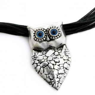 Wise Little Owl ~ Sterling Silver & Cord Necklace