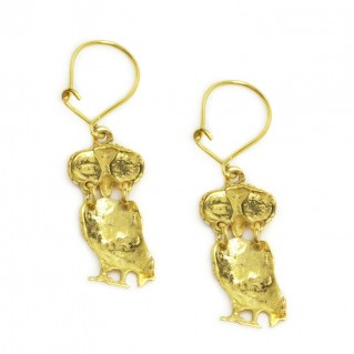 Goddess Athena's Wise Little Owl ~ Sterling Silver 24K/ Gold Plated Earrings- AB
