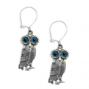 Goddess Athena's Wise Little Owl ~ Sterling Silver Earrings- A